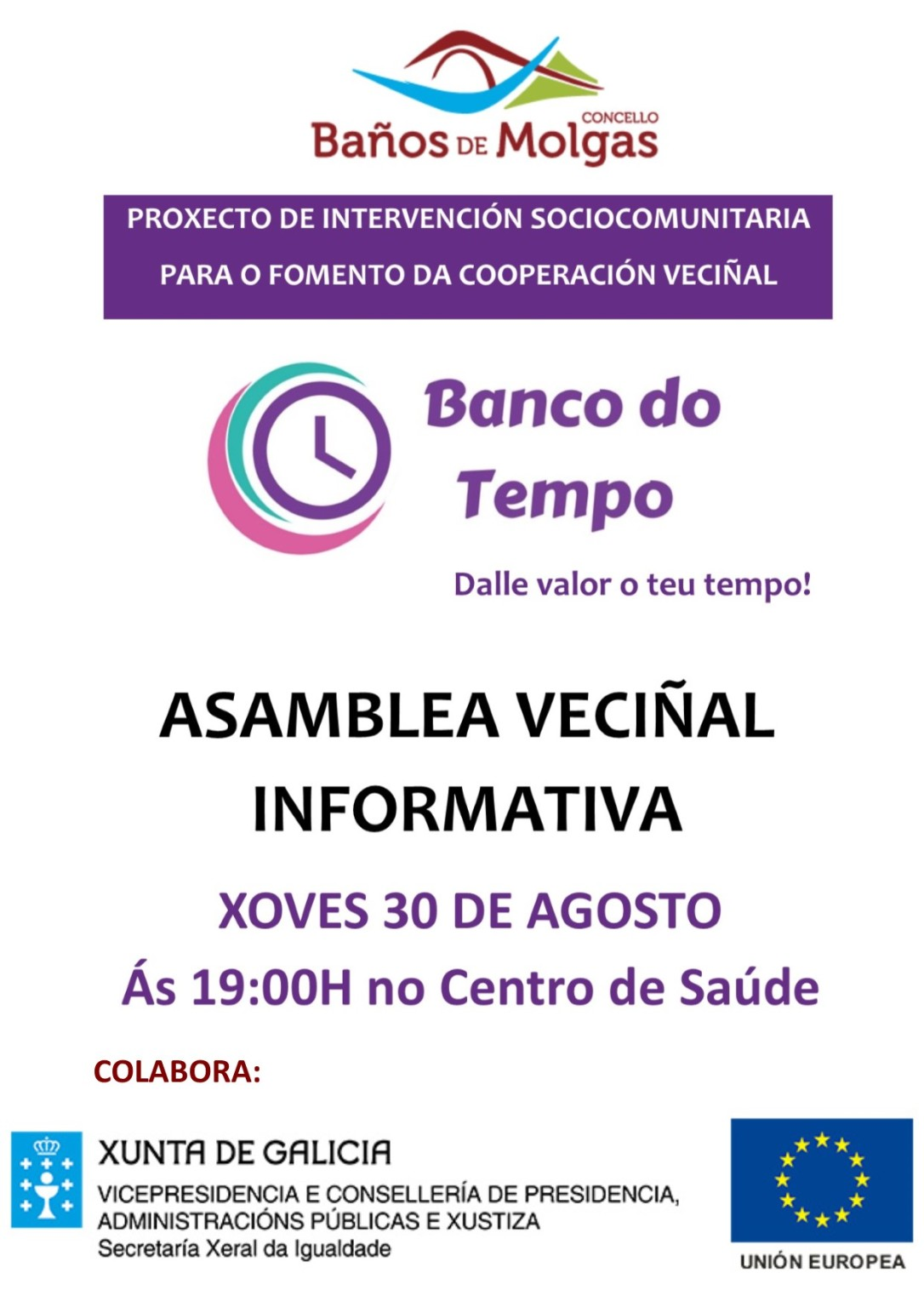 Cartaz Asamblea Veciñal Banco do Tempo